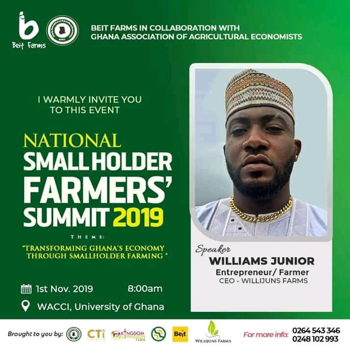 Williams Junior Set To Speak At National Small Holder Farmer's Summit.