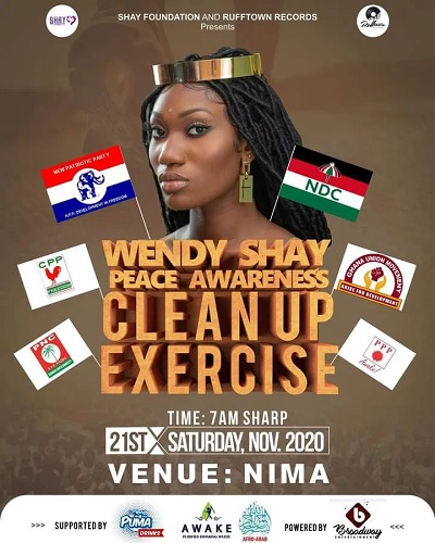 Wendy Shay Readies For Peace Awarness Clean Up Exercise At Nima